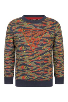 Boys Mystic Tiger Print Cotton Sweater