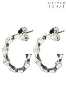 Oliver Bonas Jayla Diamond Casting 925 Silver Hoop Earrings