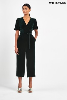 Whistles Dark Green Layla Velvet Silk Mix Jumpsuit