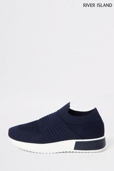 River Island Navy Rogan Knitted Runner Trainers