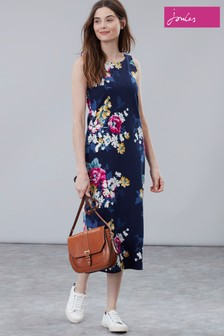 Joules Blue Riva Midi Print Sleeveless Jersey Dress