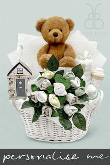 Babyblooms White Charlie Bear's New Baby Gift Basket