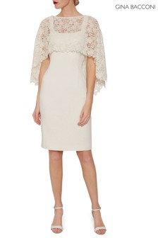 Gina Bacconi Cream Catriona Crepe Dress With Lace Overcape