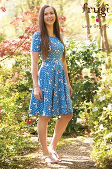 Frugi Organic Blue Rainbow Print Adult Skater Dress