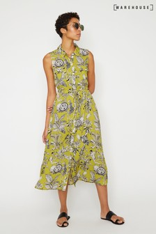 Warehouse Yellow Jungle Print Midi Shirt Dress