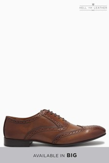 Mens Leather Burnished Dark Brown Oxford Brogue Shoes  Size UK 12 EU 46  18DV0AL7X