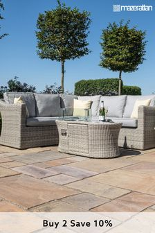 Oxford Small Corner Sofa Set With Fire Pit Coffee Table By Maze Rattan