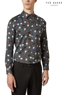 Ted Baker Brown Monkey Leaf Shirt