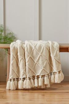 Light Natural Chunky Cable Knit Throw