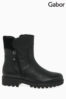 Gabor Black Balban Womens Leather Ankle Boots
