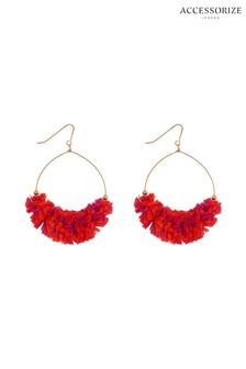 Accessorize Orange Rara Raffia Hoop Earrings