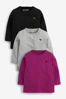 3 Pack Long Sleeve Plain T-Shirts (3mths-7yrs)