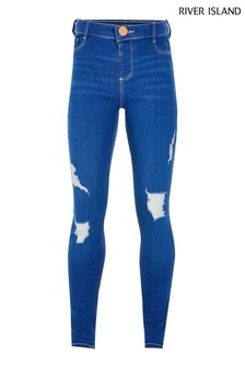 River Island Blue Rocket Buzzy Ripped Molly Jeans