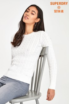 Superdry White Croyde Knit Jumper