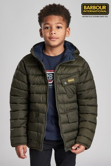 Barbour® International Boys Ouston Hooded Quilted Jacket