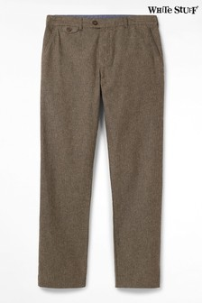 White Stuff Brown Mateo Herringbone Trousers