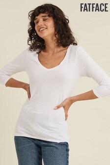 تي شيرت أبيض برقبة سبعة وكم ثلاثة أرباع طول Lauren من Fatface