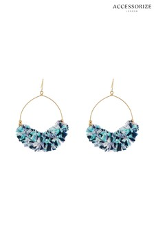 Accessorize Blue Rara Raffia Hoop Earrings