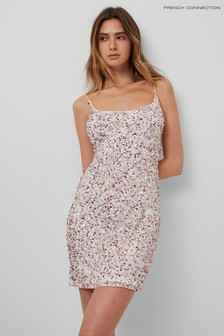 French Connection White Afarina Embellished Strappy Dress