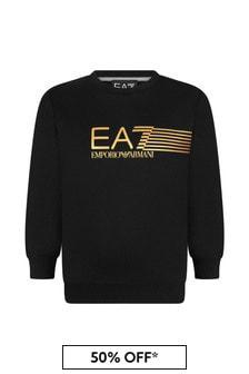 Boys Black Cotton Sweater