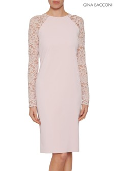 Gina Bacconi Pink Tristine Crepe Dress With Lace Sleeve