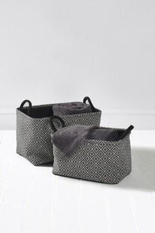 Juego de 2 cestas con diseño geométrico
