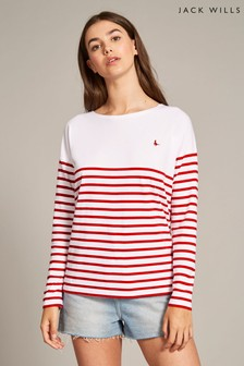 Jack Wills Red Bideford Classic Breton Shirt