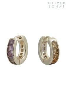 Oliver Bonas Purple Maren Stone Inlay Hoop Earrings