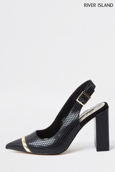 River Island Black Metal Toe Sling Back Court Shoes