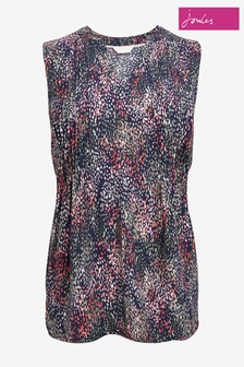 Joules Blue Liddy Pin Tuck Sleeveless Top