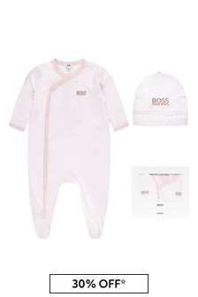 Boss Kidswear Baby Girls Pink Cotton Babygrow