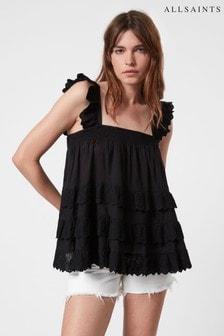 AllSaints Black Serina Top