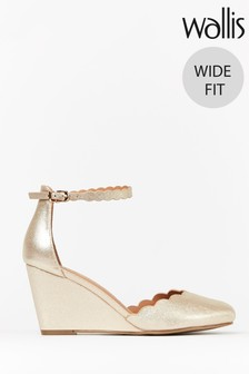 Wallis Wedding Wide Fit Gold Ankle Strap Scallop Wedges