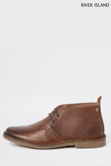 River Island Mid Brown Leather Desert Boots