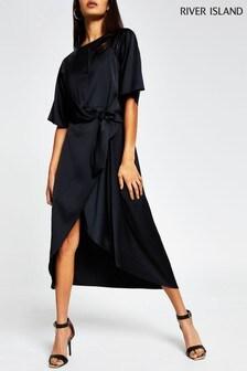 River Island Black Drape Knot Midi Dress