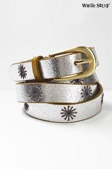 White Stuff Metallic Flower Embroidered Belt