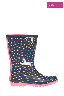 Joules Blue Roll Up Lightweight Wellies