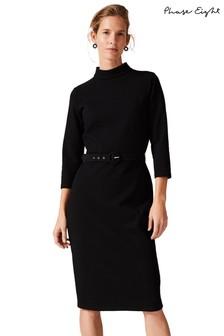 Phase Eight Black Sheree High Neck Textured Fitted Dress