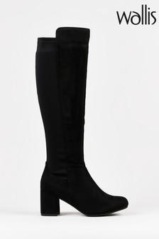 Wallis Wednesday Black Back Stretch High Leg Boots