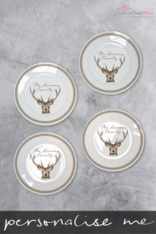 Personalised 4 Family Stag Plates by Signature PG
