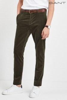 Zelené menčestrové nohavice GANT