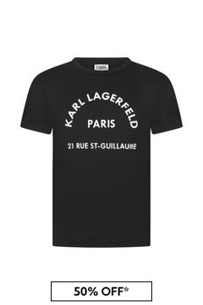 Karl Lagerfeld Boys Black Cotton T-Shirt