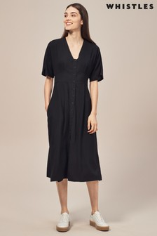 Whistles Naya Black Button Detail Dress