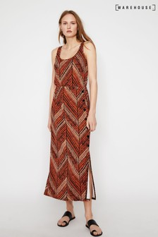 Warehouse Brown Chevron Stripe Maxi Dress