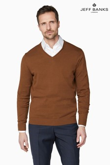 Jeff Banks Brown Men's Knitted V-Neck Sweater