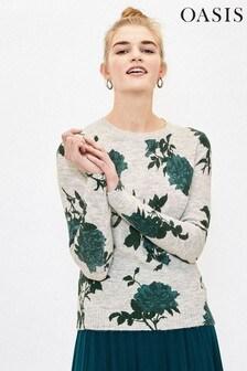 Oasis Green Floral Print Jumper