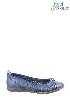 Fleet & Foster Blue Lagune Flat Ballerina Shoes