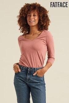 Fatface Pink Lauren Three Quarter V-Neck T-Shirt