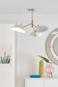 White Remi 3 Light Flush Ceiling Light