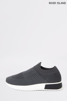 River Island Grey Rogan Knitted Runner Trainers